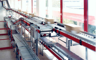 Material Flow on a Carton Conveyor Belt